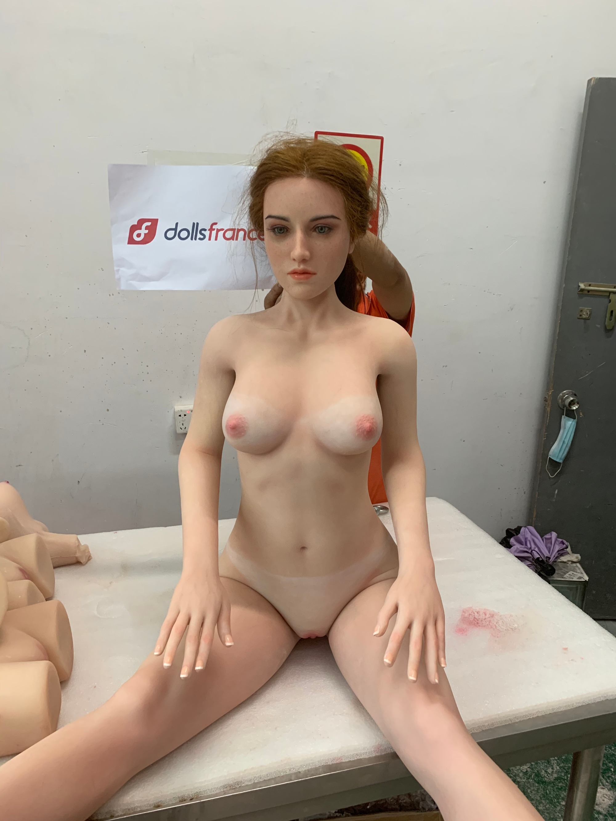 Starpery 169cm real freckles permanent blue vein sunburn silicone sex doll